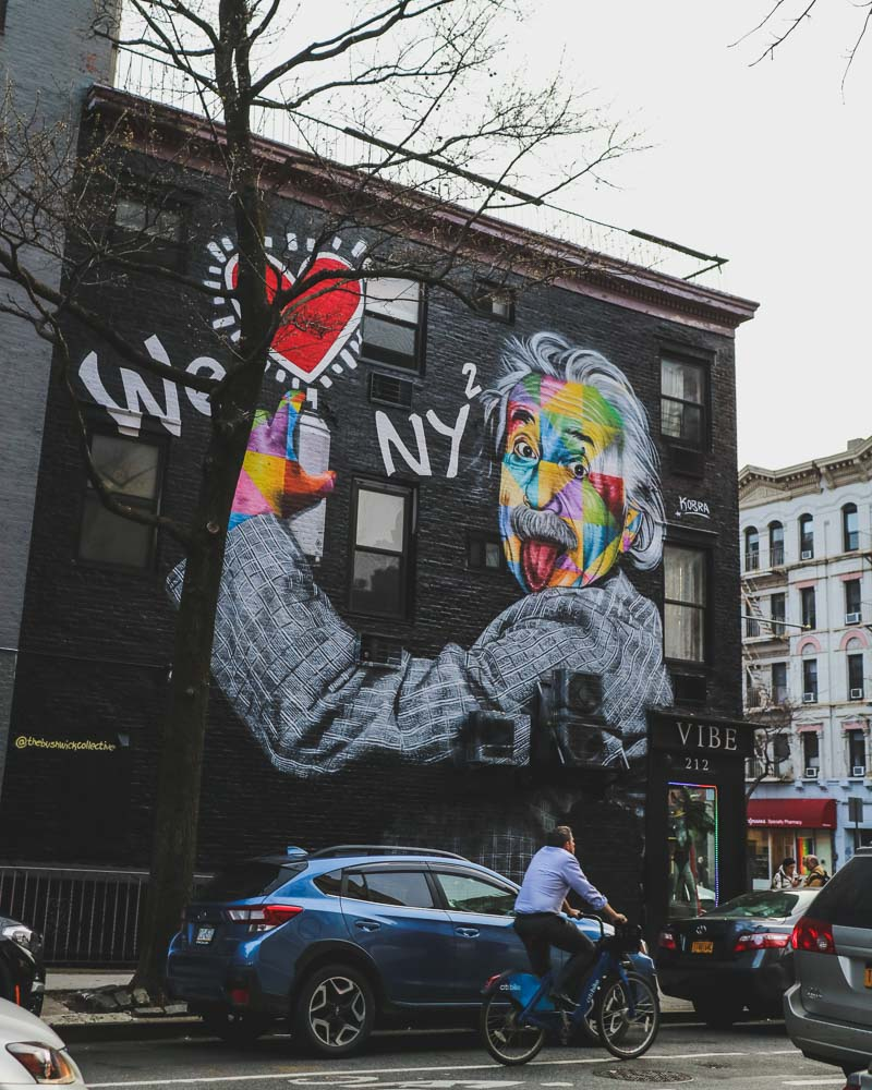 Einstein street art on the side of a New York City building